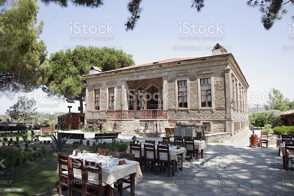 Old renovated artemis restaurant at sirince izmir turkey royalty-free stock photo