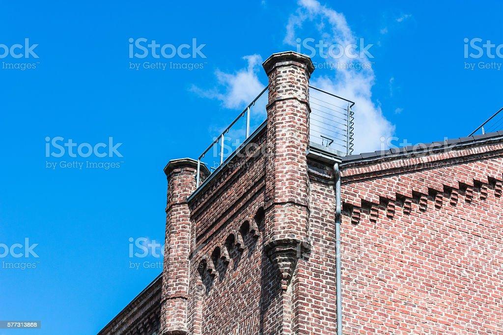 Old renovated brick house stock photo