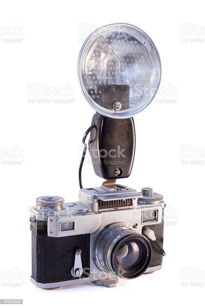 Old reporter camera with flash stock photo