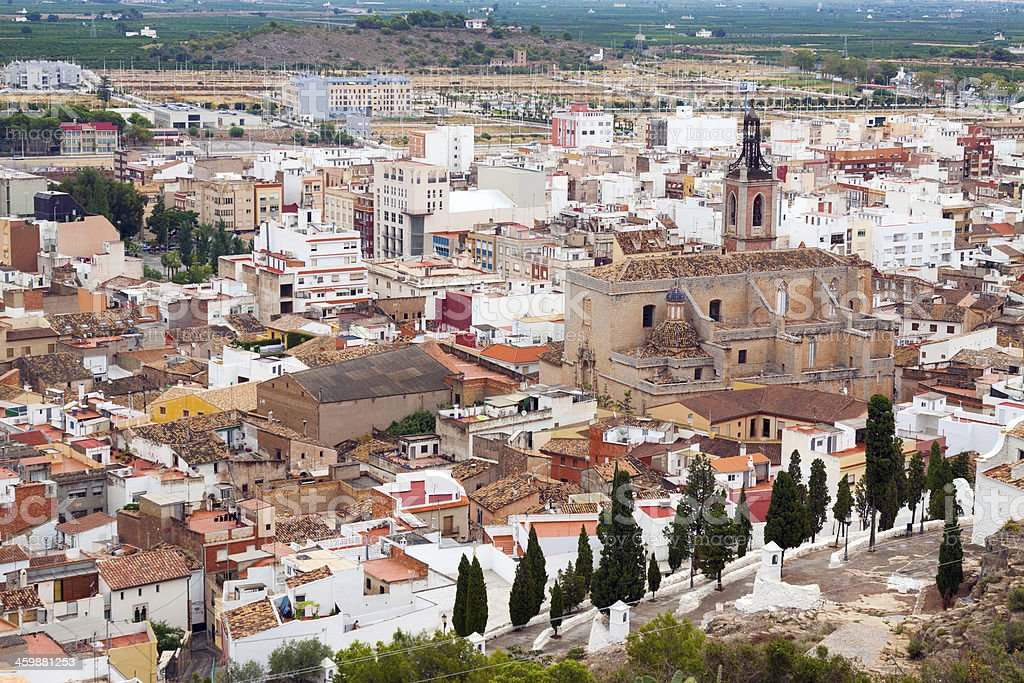 Old residence district of ordinary spanish town stock photo