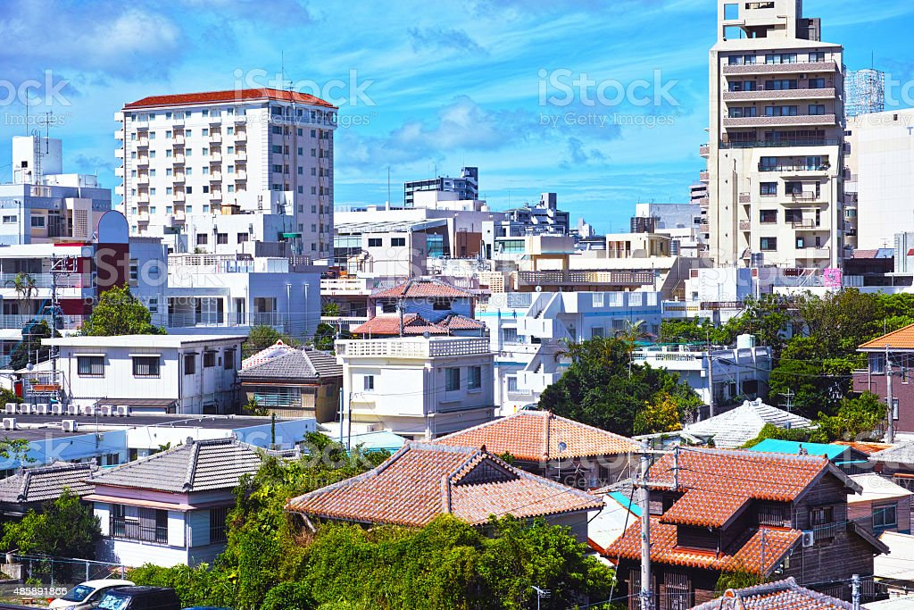 Old residential area of Naha stock photo