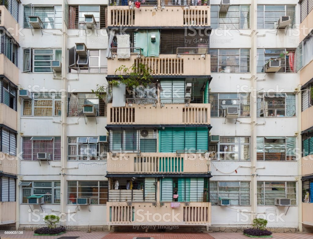 Old residential building in Hong Kong city stock photo