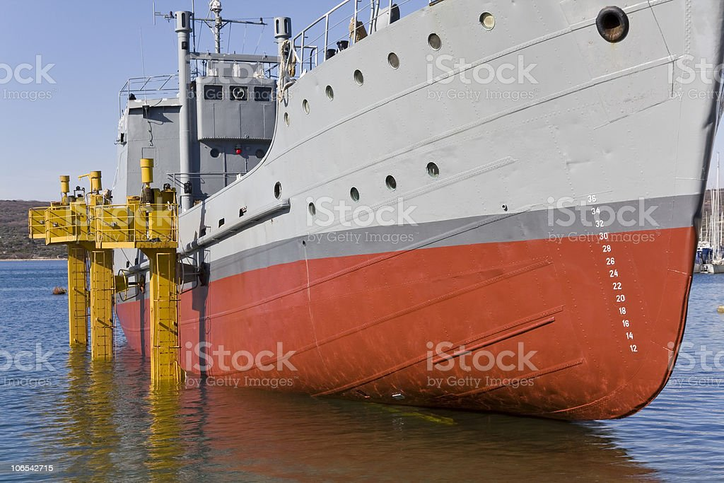 old restored military supply ship royalty-free stock photo