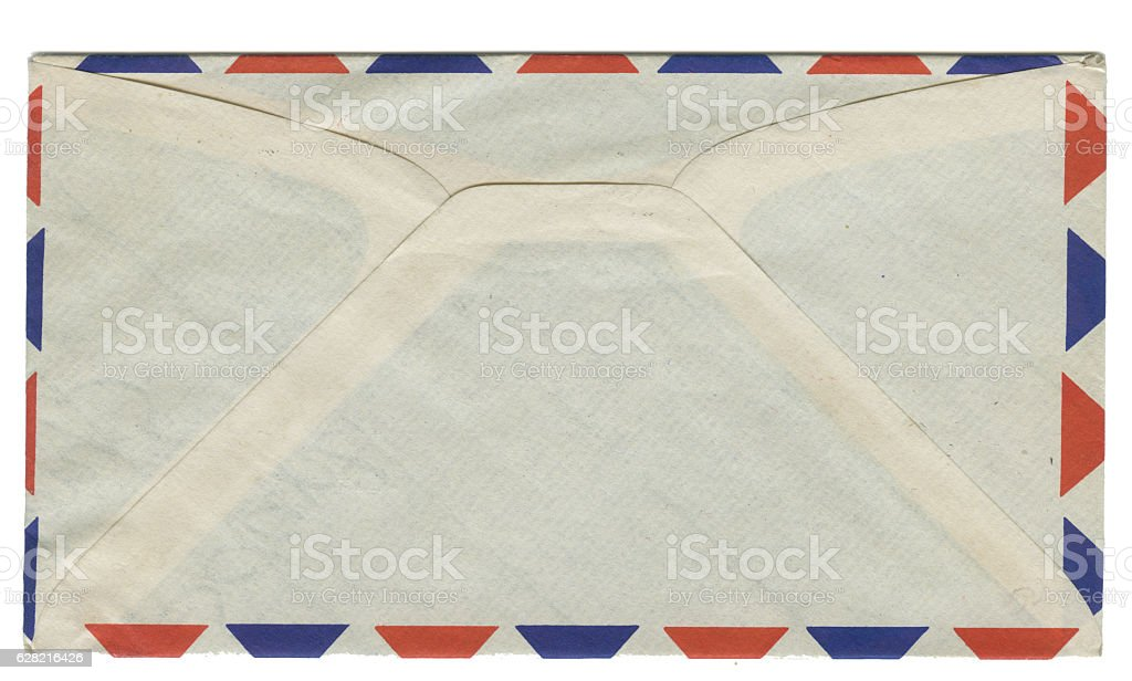Old Retro Blank Air Mail Envelope Rear stock photo