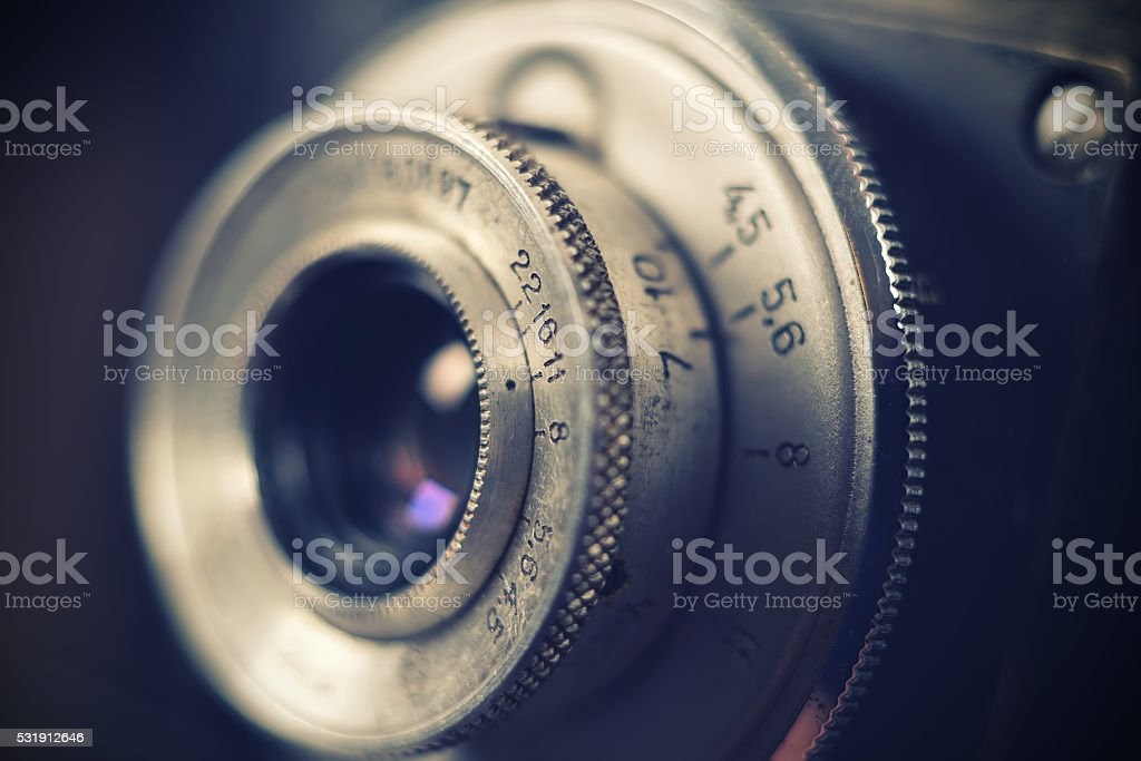 Old retro camera lens stock photo