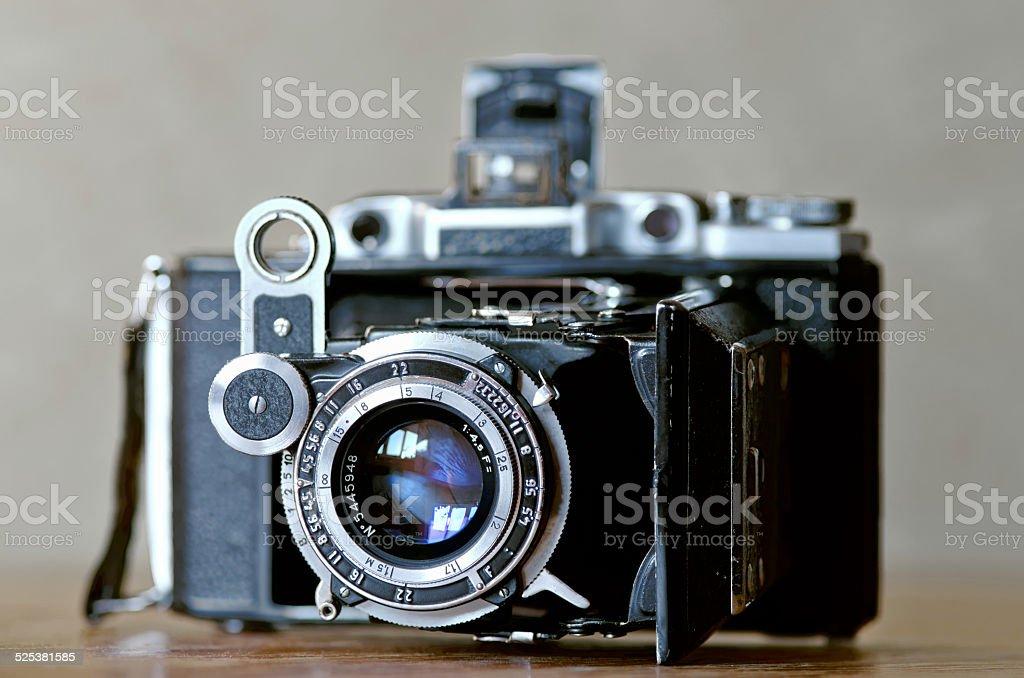 Old retro camera stock photo