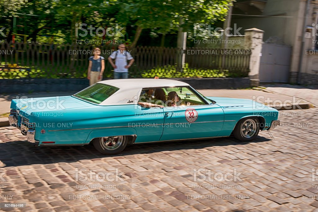 Old retro car  BUICK ELECTRA 225 LIMITED taking participation in race Leopolis grand prix 2017 stock photo