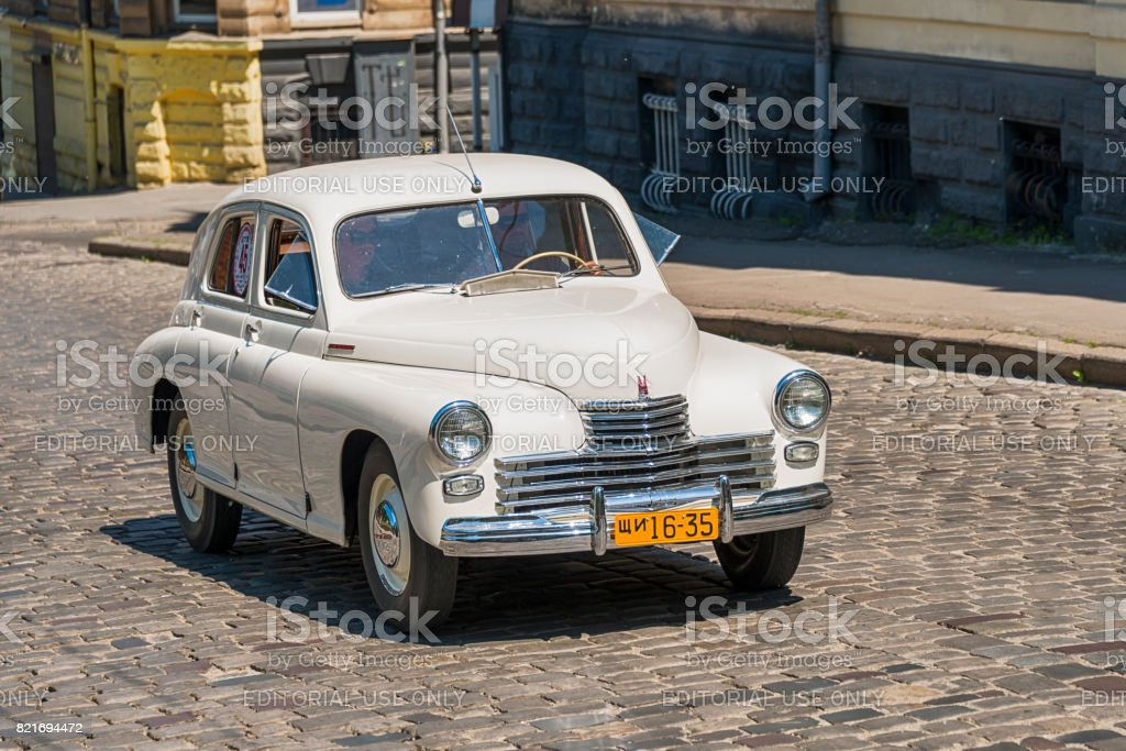 Old retro car  GAZ - M20 taking participation in race Leopolis grand prix 2017 stock photo
