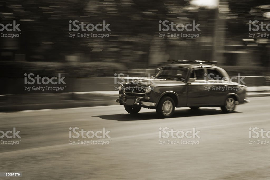 Old retro car in motion stock photo