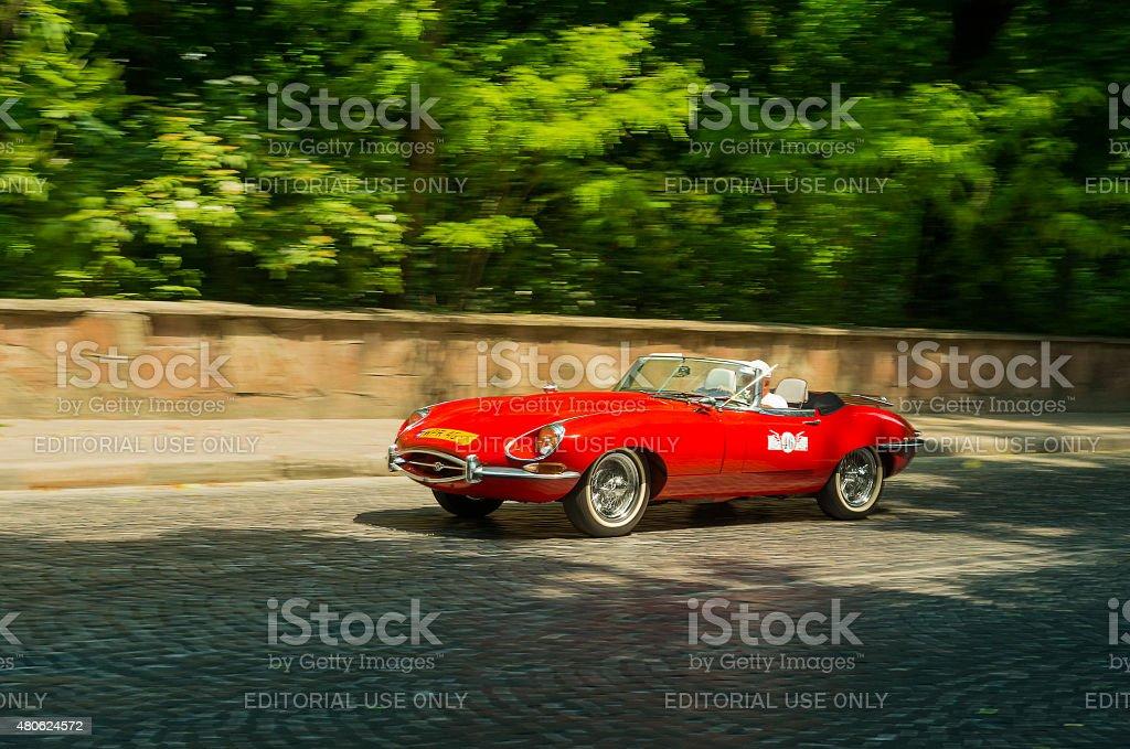 Old retro car Jaguar E-type stock photo