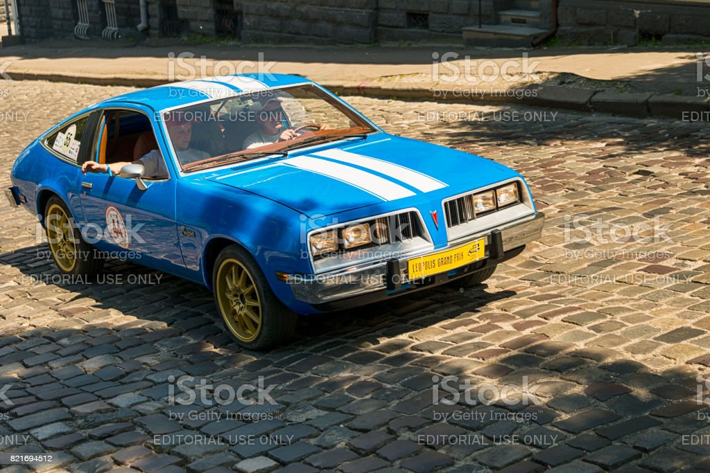 Old retro car  Pontiac sunbird taking participation in race Leopolis grand prix 2017 stock photo