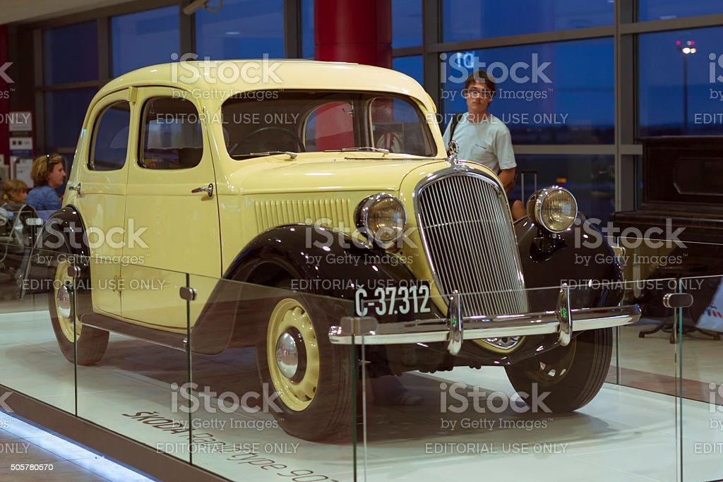 Old retro car Skoda in the Prague airport stock photo