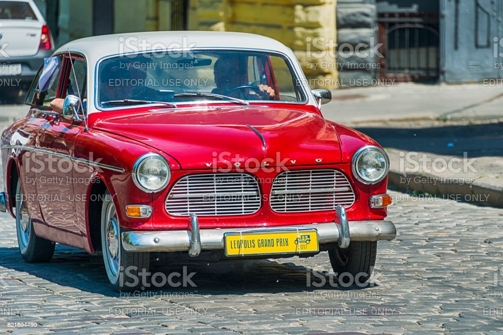 Old retro car  VOLVO AMAZON 121 taking participation in race Leopolis grand prix 2017 stock photo