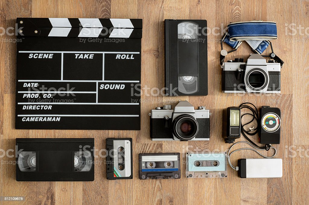 Old retro equipment on wooden boards stock photo