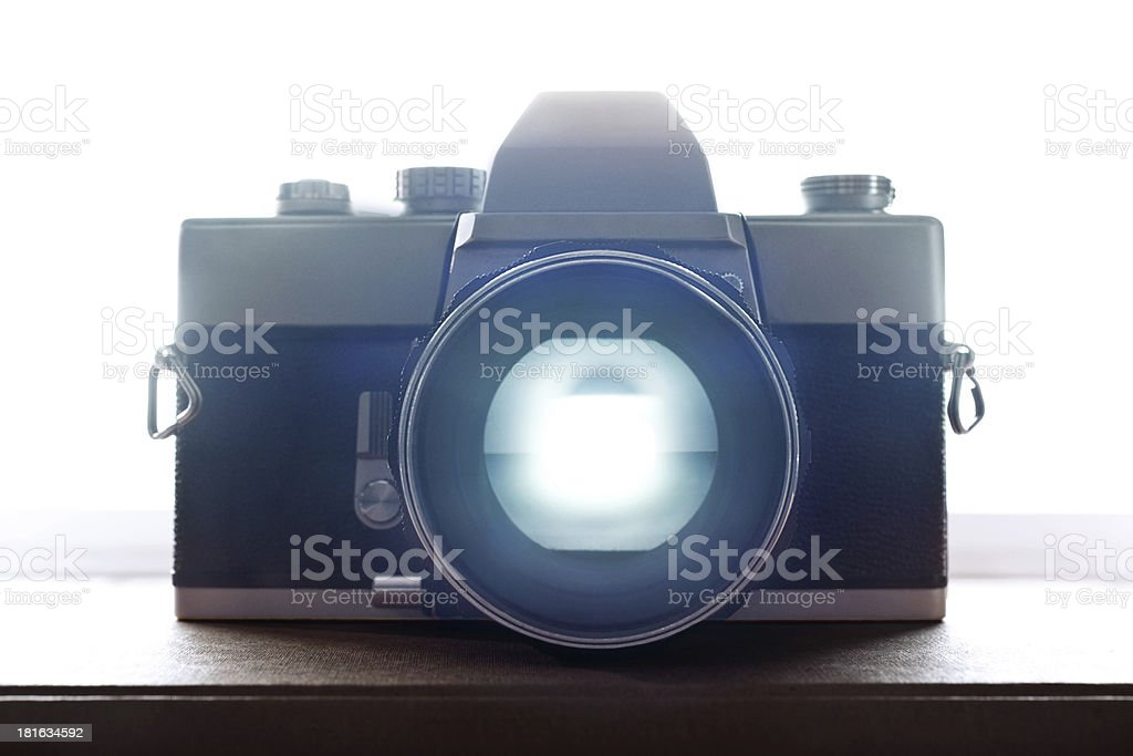 Old Retro Film Camera Closeup with backlight royalty-free stock photo
