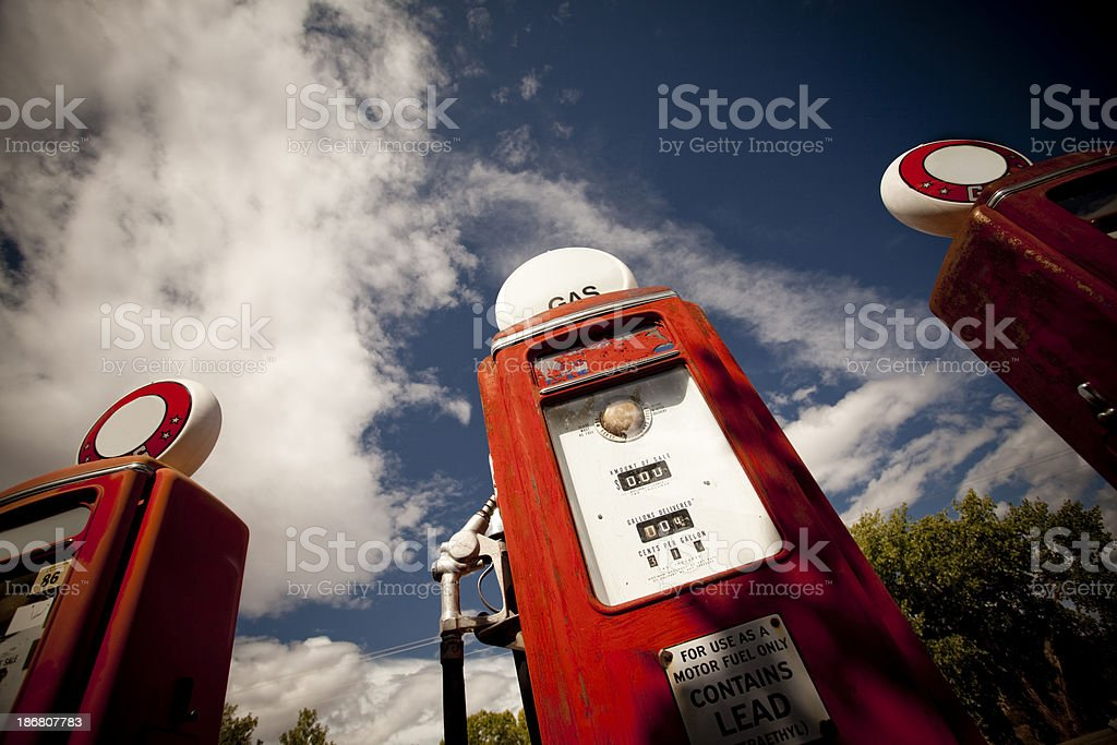 Old retro gas pumps stock photo