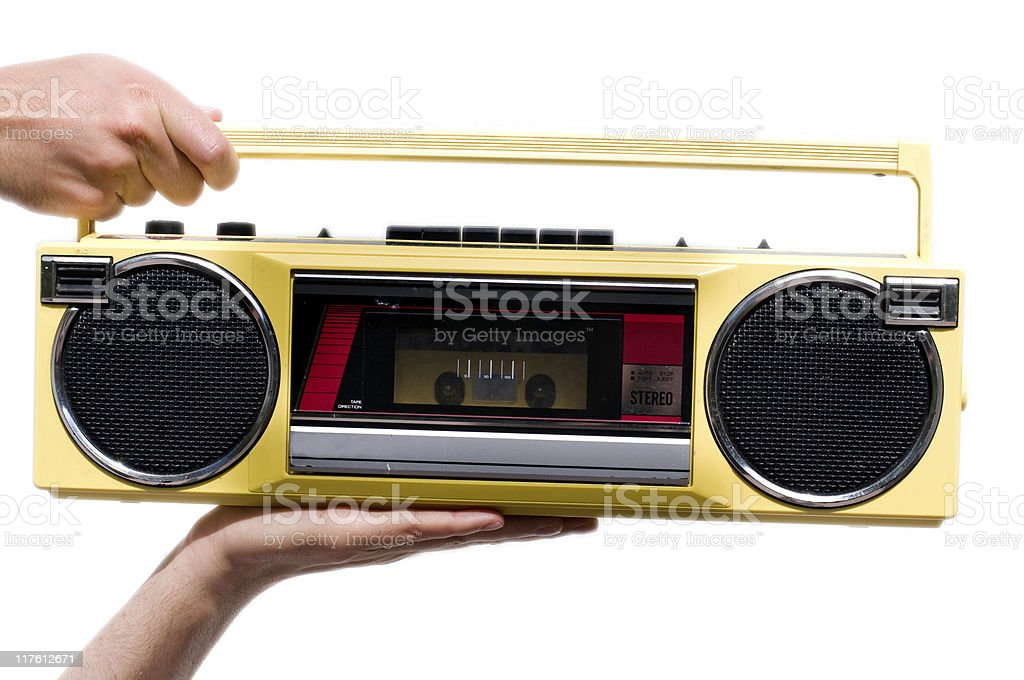 Old retro radio with a cassette player for tapes stock photo