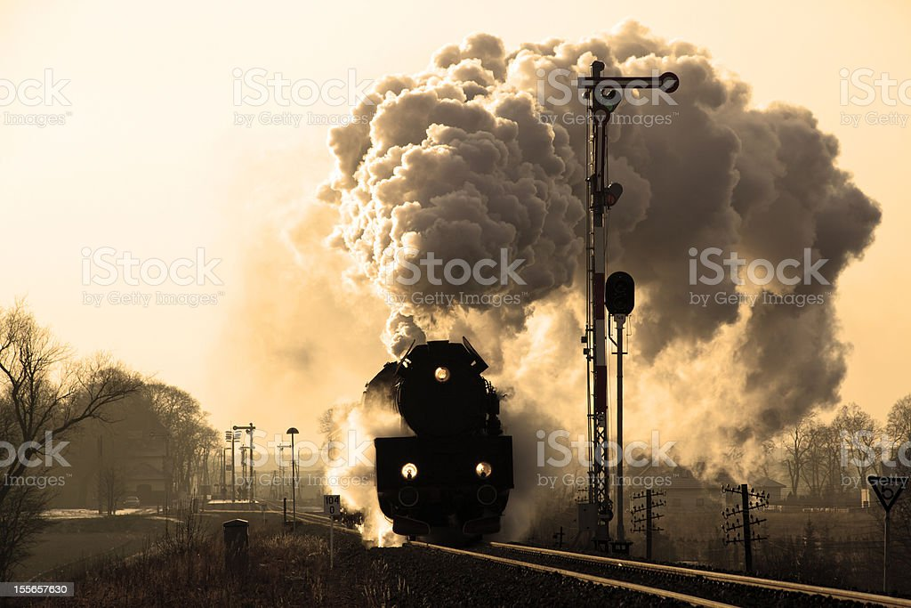 Old retro steam train royalty-free stock photo