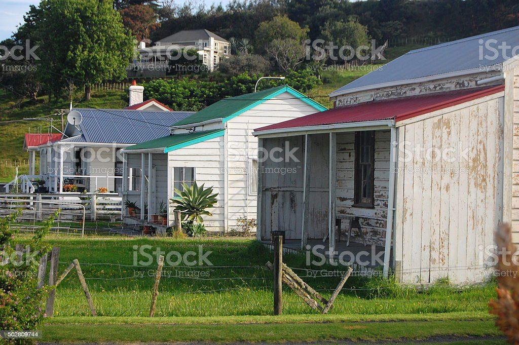 Old retro timber houses stock photo