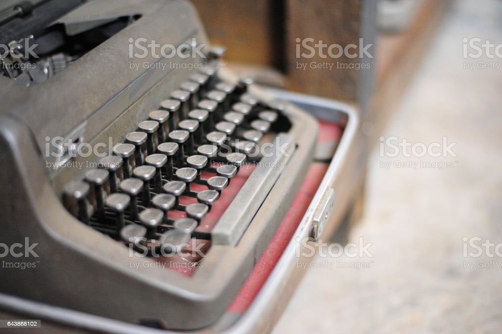 old retro vintage type writer so classic manual machine technology for print paper in the past business stock photo
