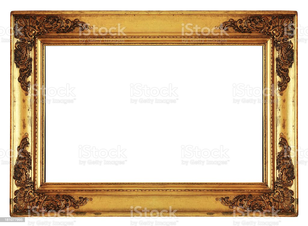 Old revival golden picture frame (clipping path) royalty-free stock photo