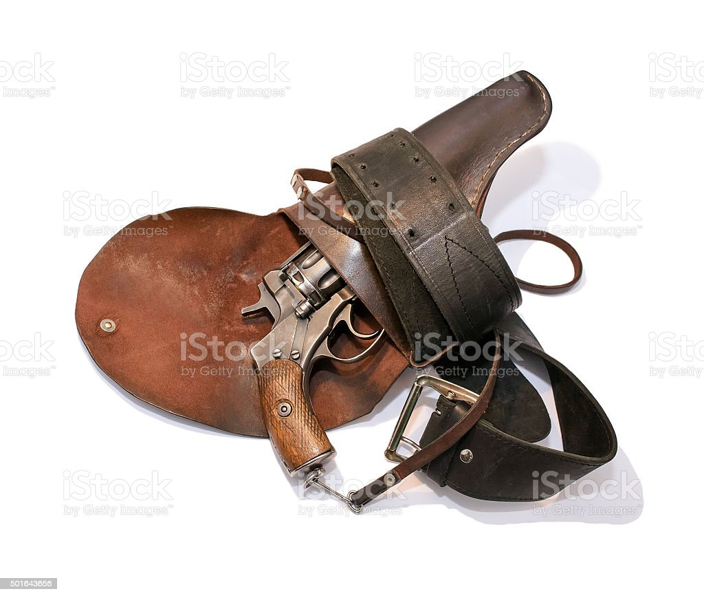 Old revolver in a holster stock photo