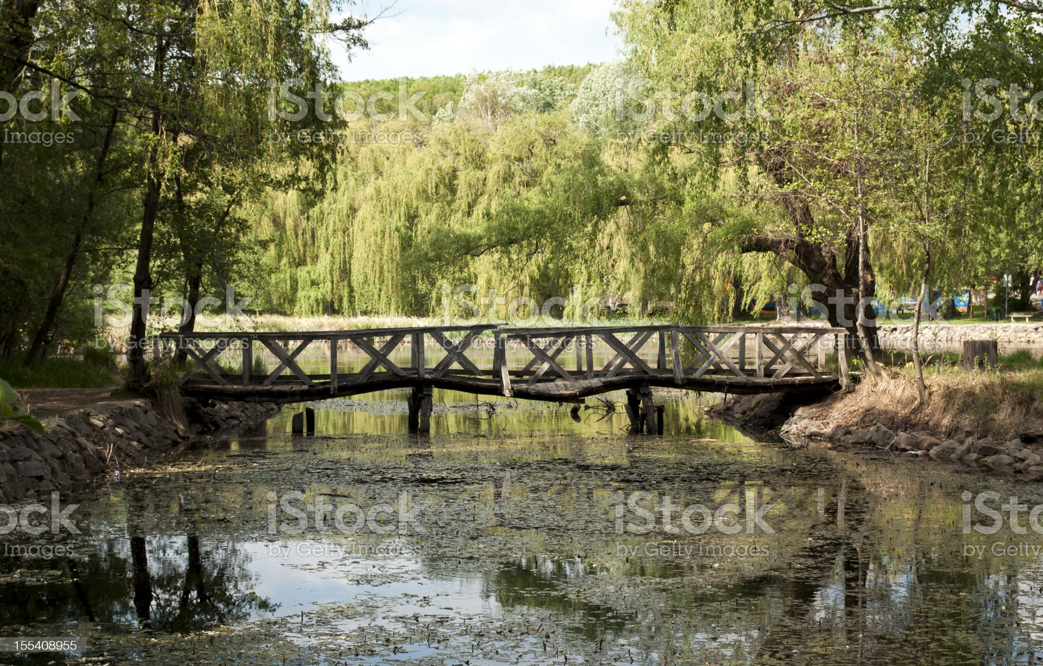 Old rickety Wooden Bridge royalty-free stock photo