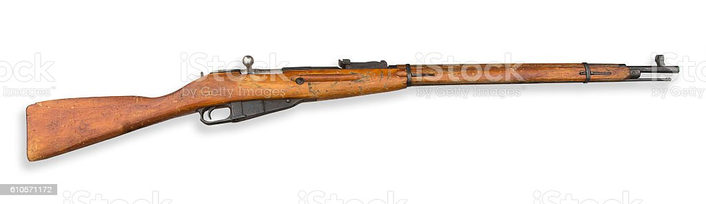 Old rifle isolated stock photo