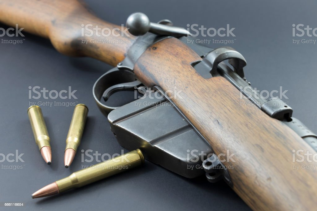 Old Rifle with Ammo stock photo