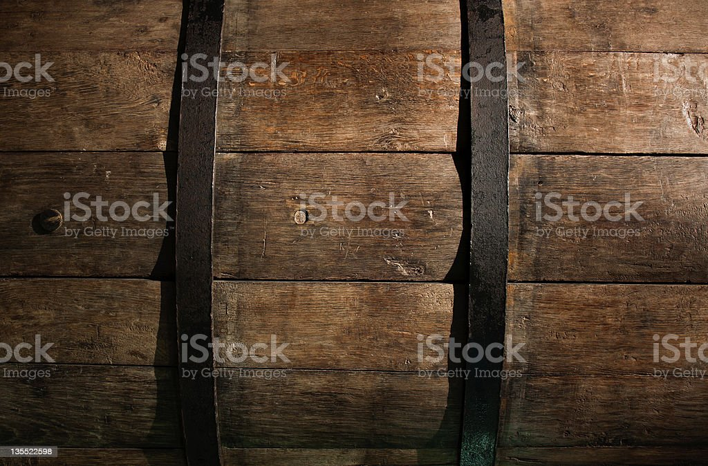 Old Rioja wine barrel in Spain. stock photo