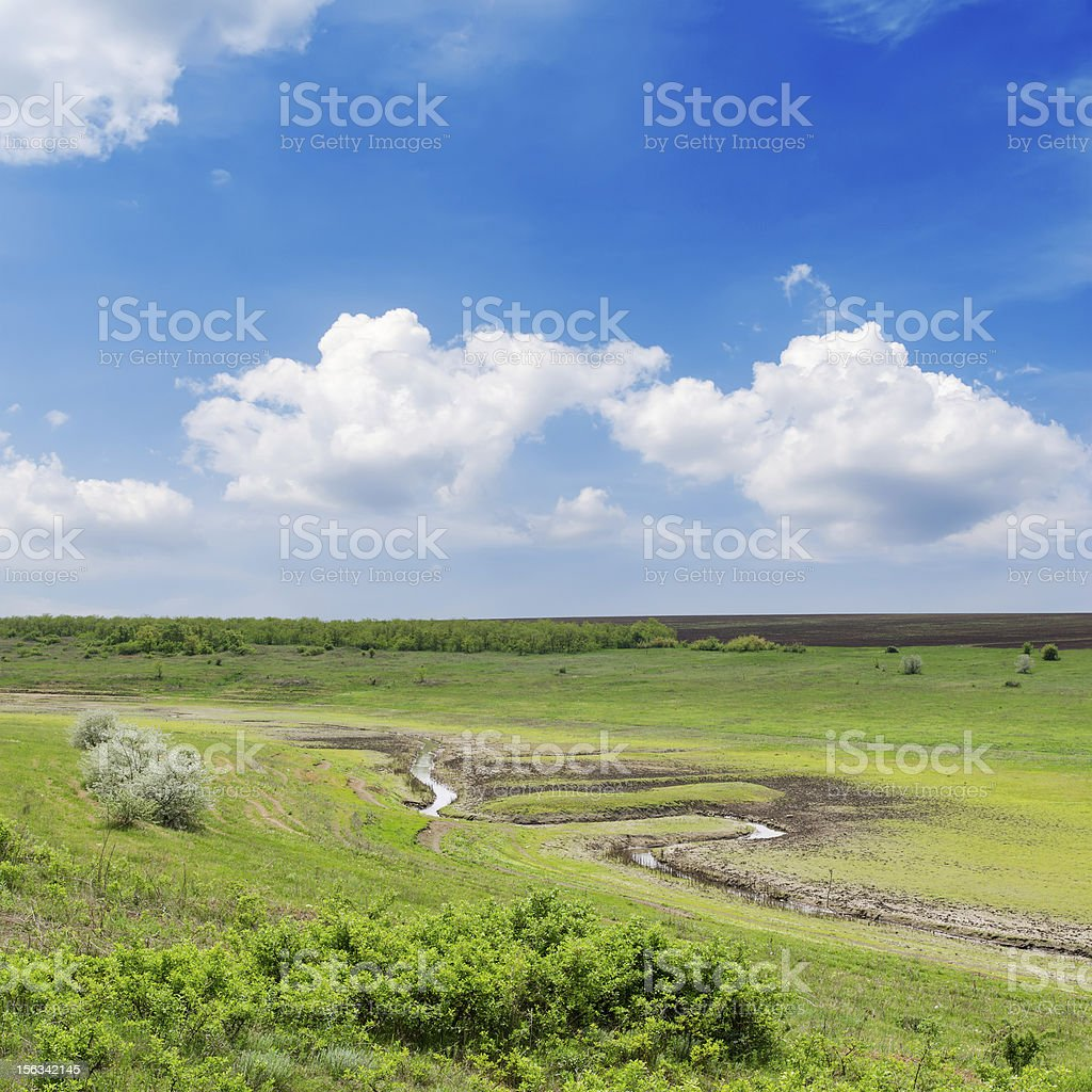 old river and cloudy sky royalty-free stock photo