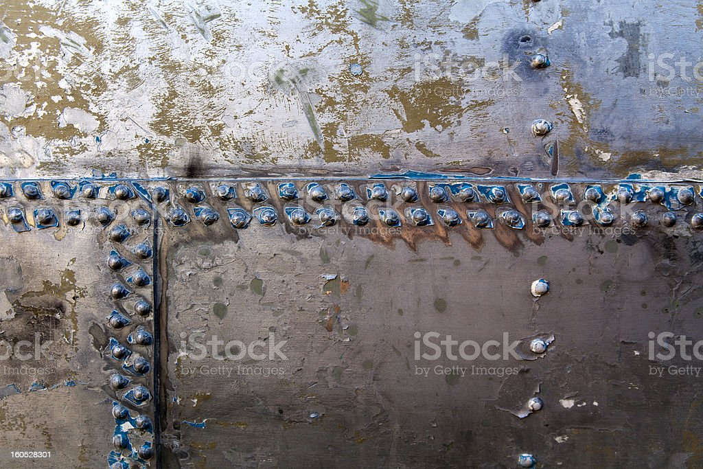 Old rivets on a steel hull royalty-free stock photo