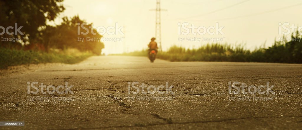 Old road closeup image at sunset time royalty-free stock photo