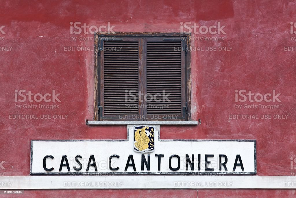 Old road inspector's house in Italy called casa cantoniera in Italian stock photo