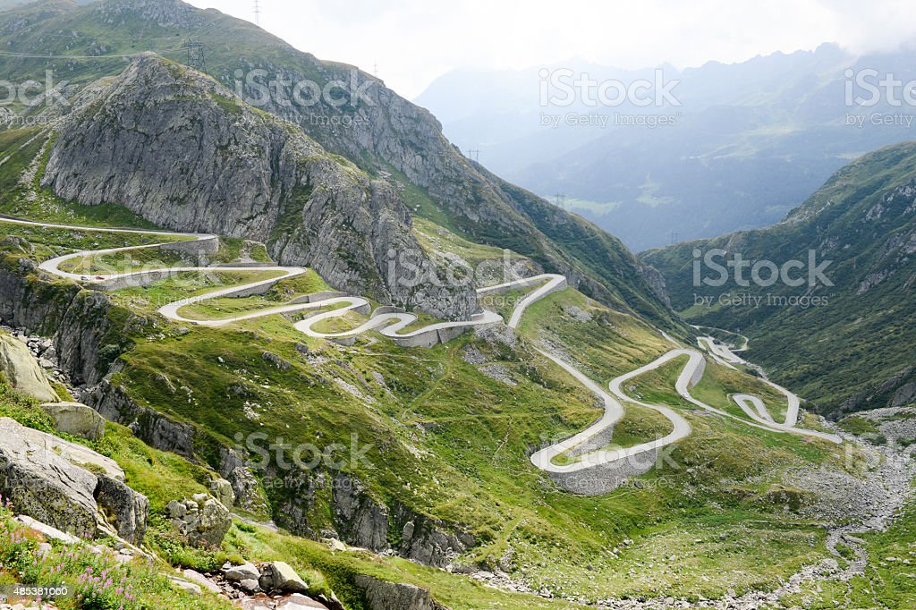 Old road on the southern side of the St. Gotthard stock photo