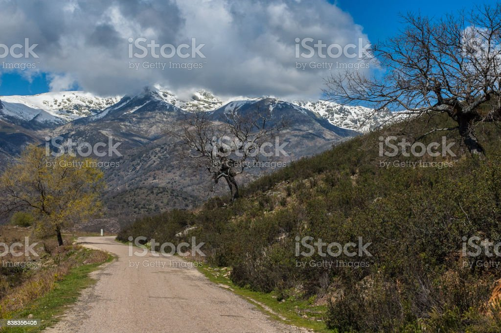 Old road way to the mountains stock photo