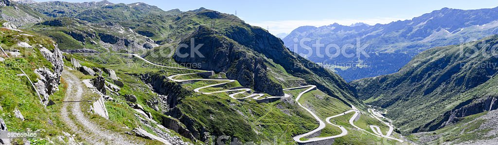Old road which leads to St. Gotthard pass stock photo