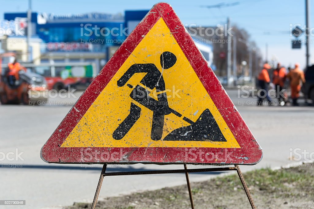 Old Roadworks Sign stock photo
