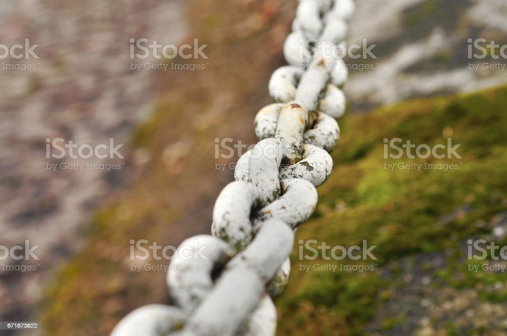 Old Robust rusty chain of iron stock photo