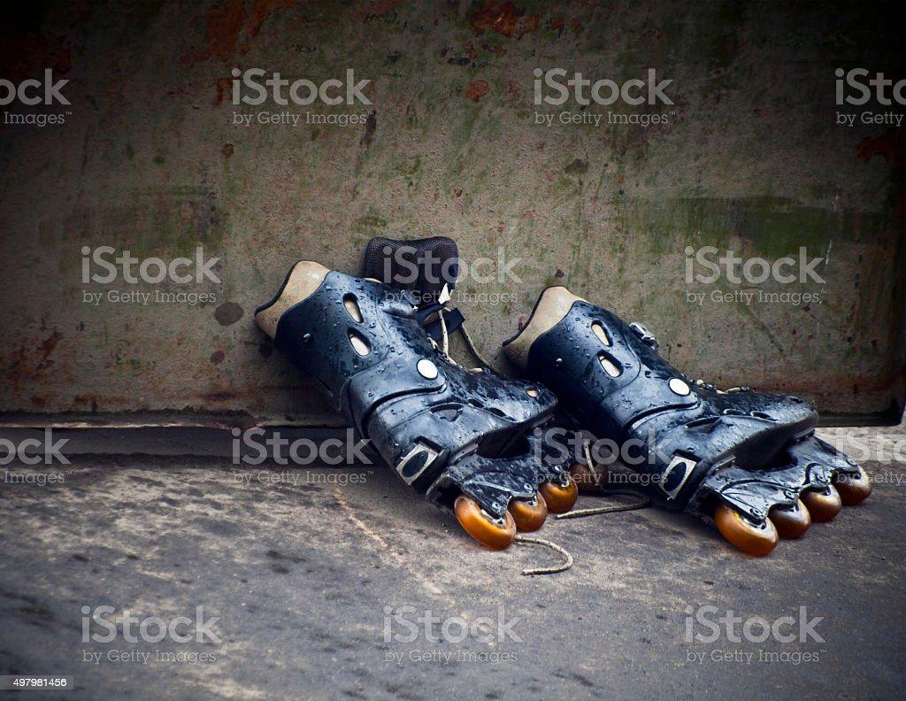 old roller skates stock photo