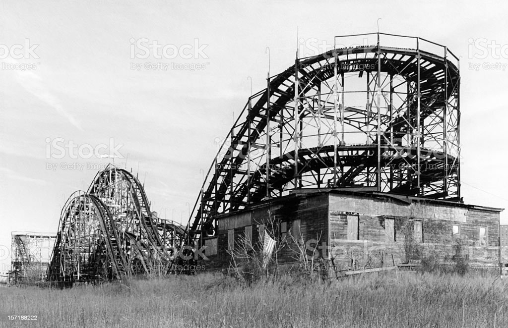 Old rollercoaster in Coney Island NY royalty-free stock photo