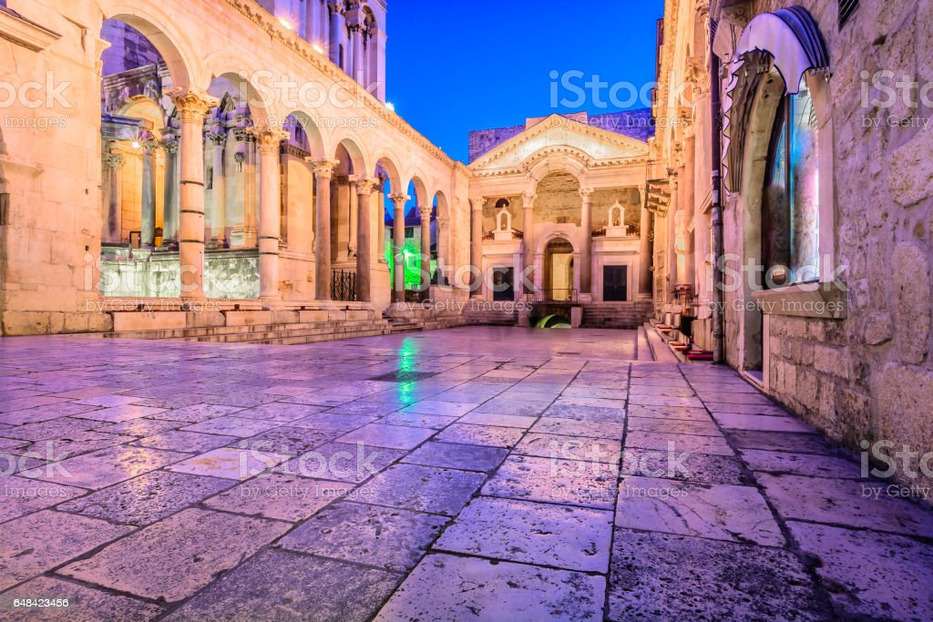 Old roman architecture in town Split. stock photo