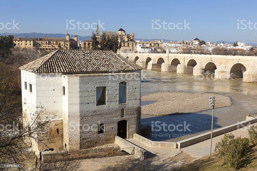 Old Roman bridge over the Guadalquivir River in C?rdoba, Spain. royalty-free stock photo