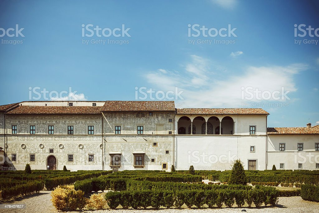 Old Roman buildings and garden royalty-free stock photo