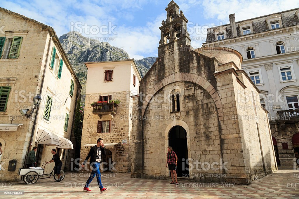Old roman catholic church in Kotor stock photo