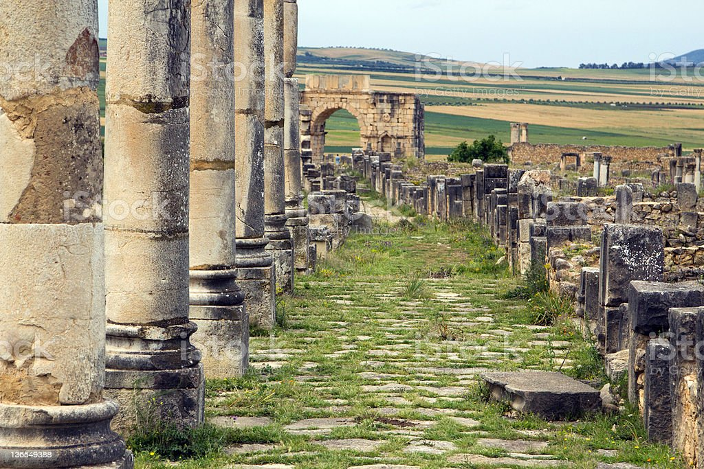 Old Roman Columns and City Entrance, Volubilis, Morocco royalty-free stock photo