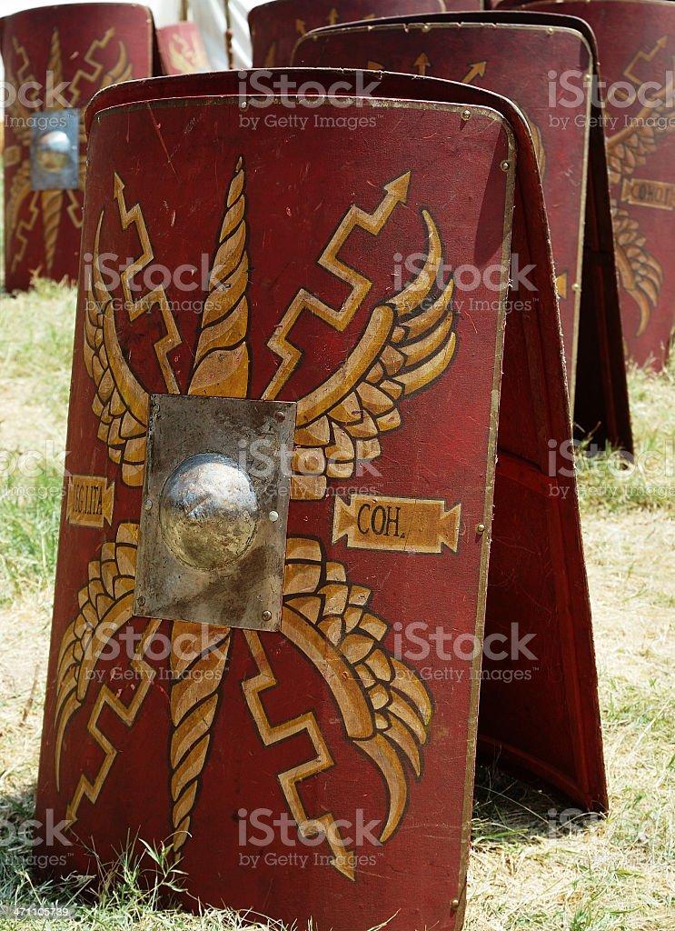 Old Roman shields stock photo