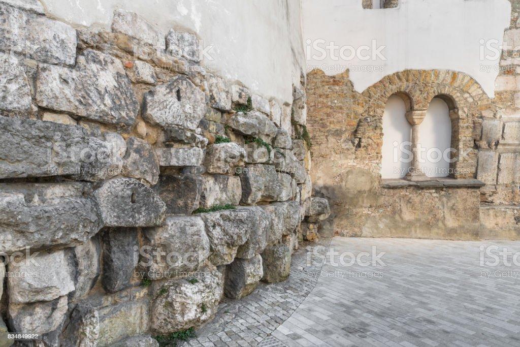 Old roman surrounding wall of the castra regina in Regensburg, Germany stock photo