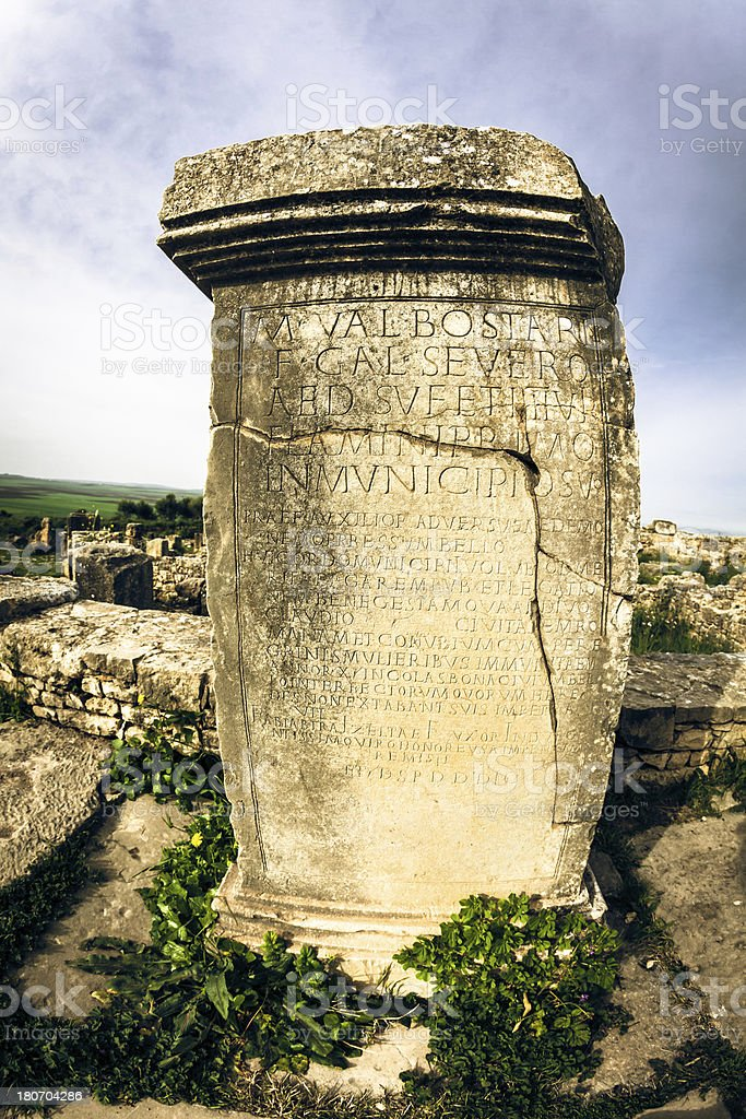 Old Roman Tomb in Volubilis, Morocco royalty-free stock photo