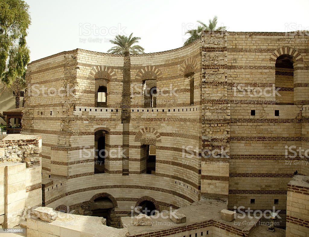 Old roman tower of Babylon in Coptic area  Cairo stock photo